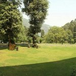 lawn at manu maharani hotel also naini lake could be seen