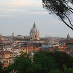 Pre-sunset view of the Vatican from the Pincio Gardens overlook above Piazza del Popolo