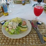 Delicious crab & shrimp salad, potato salad and punch!
