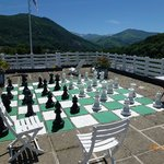 Chess Board on top of Hotel Christina roof.
