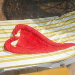 Towel made into heart