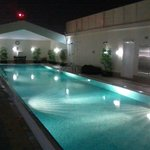 Roof top swimming pool at night