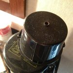 Dust on coffee pot when first came into room