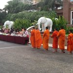 Reigious ssstart of Songkran with Monks at hotel