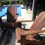 Relax in the hand mde chairs by the pool,