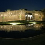 the pool & ancient wall at night...peacocks were on the wall earlier today!
