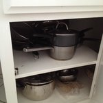 cookware included for use in the kitchenette