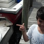 These were his first fish caught right from The Morrings dock.