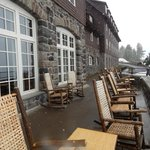 Back porch of Crater Lake Lodge while it's snowing!!