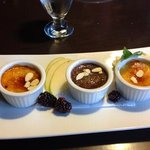 amaretto, chocolate and rhubarb were the three creme brulee flavours of the day