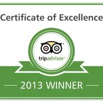 Winner Tripadvisor Certificate of Excellence 2013