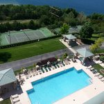 Tennis court and outdoor pool/hot tub