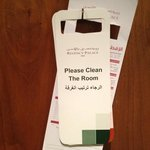 instruction labels: please clean the room