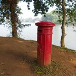 British style postbox on the lakeside.
