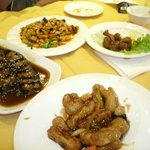 """Eggplant, Kung Pao, Spicy """"Beef"""", Sweet & Sour """"Pork"""""""