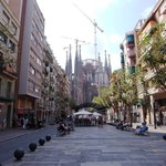 View of Sagrada Familia from nearby street