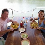 Enjoying a meal abord our Houseboat
