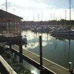 Visiting yachts and the Town Basin on a calm and sunny day