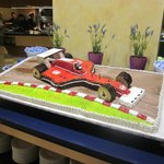 F1 weekend was celebrated with Ferrari cake at the dinner