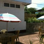 umbrella tables in front of the lanai