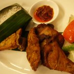 Nasi Timbel with fried chicken and steamed rice