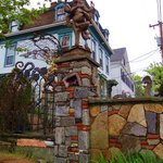 amazing yard art and best stone fence with gems and glass