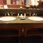 Vanity - dual sinks. Spacious and well stocked