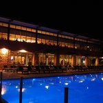 Exterior night view (restaurant + pool deck)