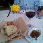 Pinot noir wine with complimentary bread and oil, delish!