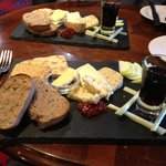 Delicious welsh cheeses served with port
