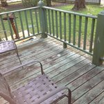 This is the dirty in need of painting private deck