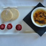 White Chocolate creme brûlée with shortbread and raspberries