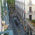 View from our room, the Ramblas is at the end of the road on your left