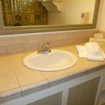 Hotel bathroom was very nice and spacious with counter spaces and mirrors outside of bathroom as