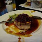 roasted pork belly, mash, cabbage and warm cranberry compote