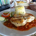 Swordfish with a Creole sauce & savoury rice