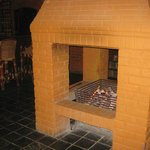 Fireplace in the centre of the restaurant