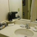 Bathroom Sink and Coffeemaker. Separate from Toilet and Bathtub.