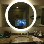 tv in the bathroom mirror !!!!!!!!