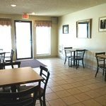 Our hotel's dining area is the perfect place to enjoy a cup of Joe!