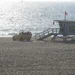 Hermosa Beach lifeguard shack and vehicle