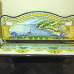 Ceramic bench in lobby--beautiful piece of work