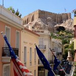 The view of the Acropolis from our balcony during the day time.