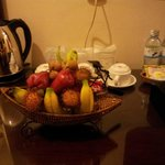 complimentary fruit basket and bottled water and kettle
