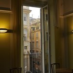View of the Piazza della Maddalena from the breakfast room.