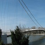 Pedestrian bridge over river Drava