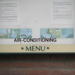 Strange menu-air conditioning near the entrance
