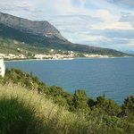Looking back from the headland between hotel and Makarska
