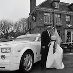 one of my favourite wedding pictures it snowed and the tower arms looks lovely in the background
