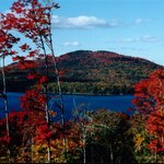 Autumn view over Moosehead Lake